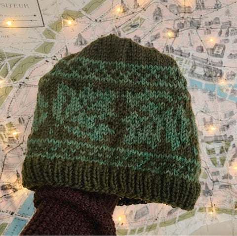 Two color hat held in one hand over a map, Gianna's first colorwork knitting project in forest and light green worsted weight yarn creating a walnut leaf pattern