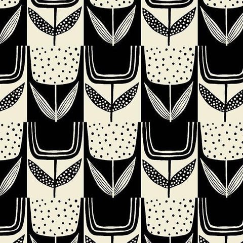 Andover Fabrics-Patchwork Tulips in Charcoal-fabric-gather here online