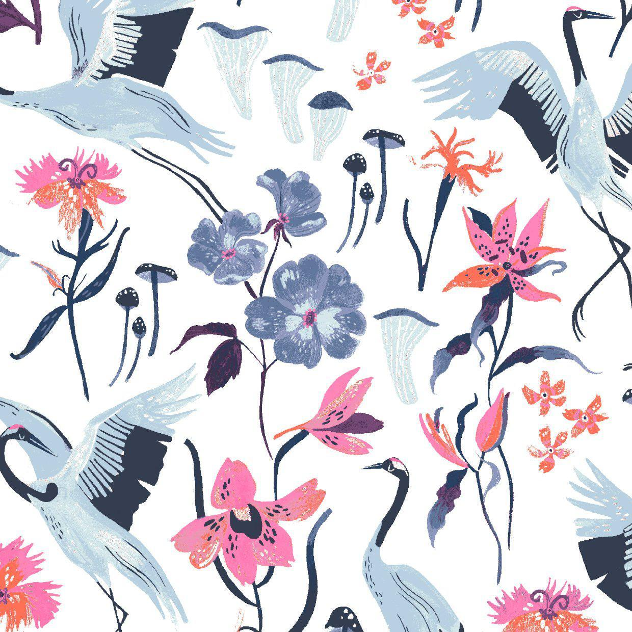 Dear Stella-Cranes-fabric-gather here online