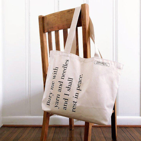 Fringe Supply Co. - Bury Me With Yarn Tote Bag - Default - gatherhereonline.com