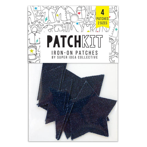 Super Idea Collective - Denim Lighting Bolts + Stars Patch Kit - - gatherhereonline.com