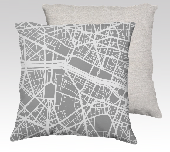 Paris Map Pillow Cover in Gray - Salty Lyon