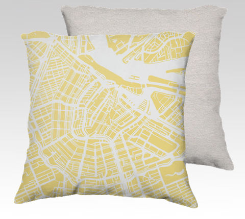 Amsterdam Map Pillow in Yellow