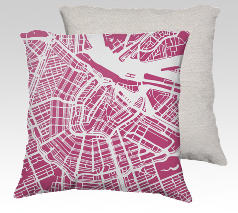 Amsterdam Map Pillow in Magenta