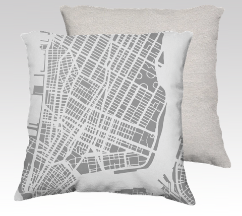 NYC Lower Manhattan Map Pillow in Gray