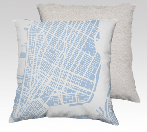 NYC Lower Manhattan Pillow in Sky Blue