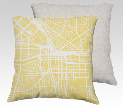 Syracuse Map Pillow in Yellow