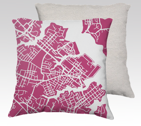 Annapolis Map Pillow in Magenta