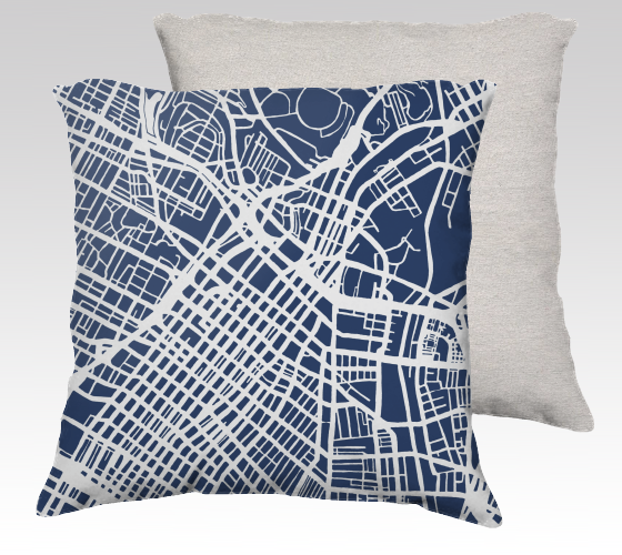 Los Angeles Map Pillow in Navy - Salty Lyon