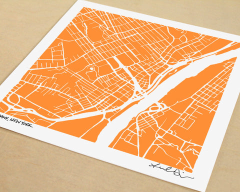 Albany New York Hand-Drawn Map Print