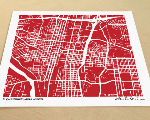 Albuquerque New Mexico Hand-Drawn Map Print