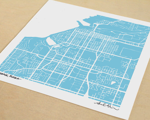 Anchorage Alaska Hand-Drawn Map Print