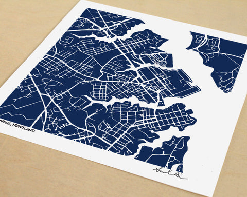 Annapolis Maryland Hand-Drawn Map Print