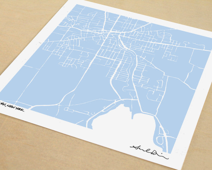 Auburn New York Hand-Drawn Map Print