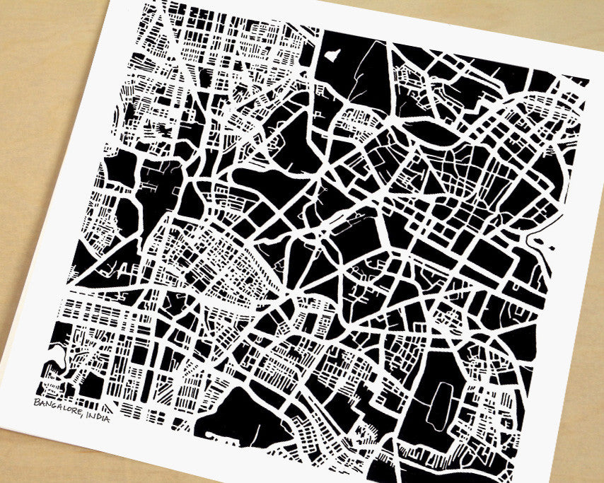 Bangalore India Hand-Drawn Map Print - Salty Lyon - 1