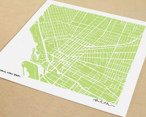 Buffalo New York Hand-Drawn Map Print