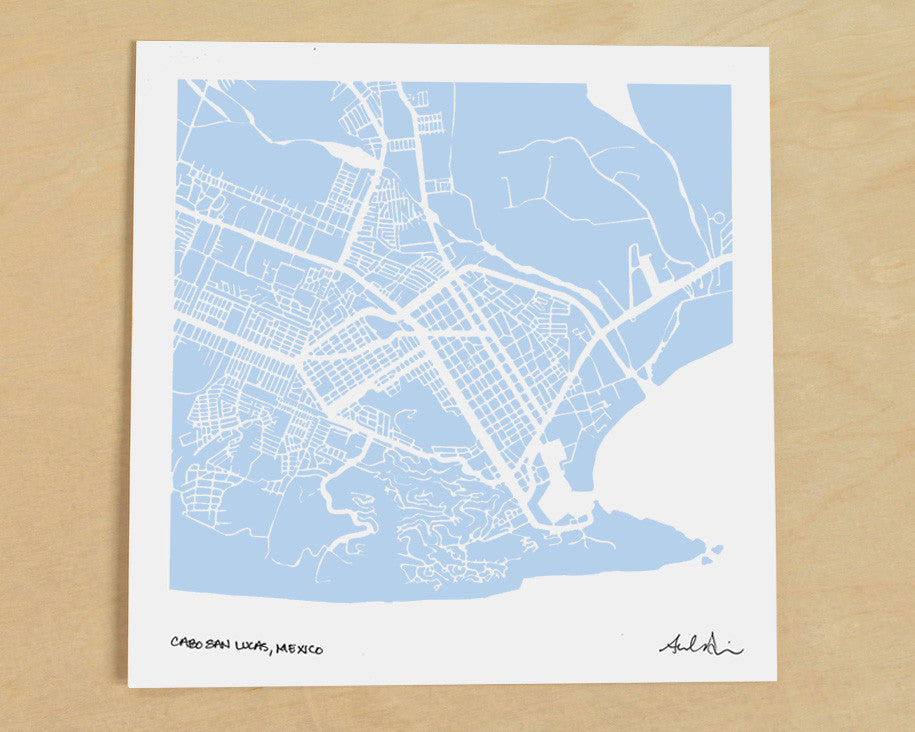 Cabo San Lucas Mexico Hand-Drawn Map Print - Salty Lyon - 1