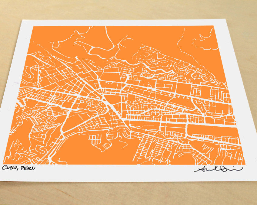 Cusco Peru Hand-Drawn Map Print