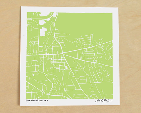 Fayetteville New York Hand-Drawn Map Print