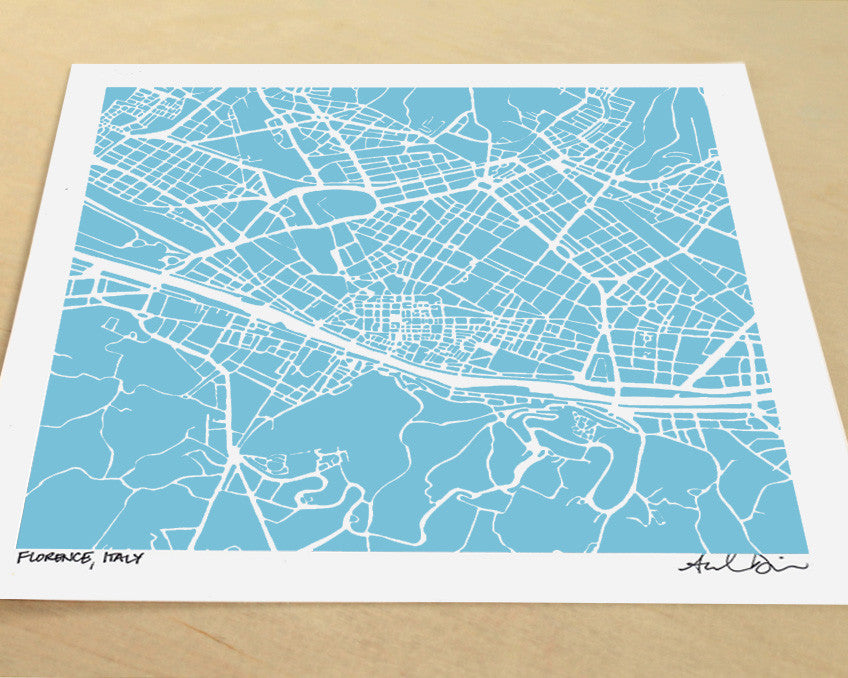 Florence Italy Hand-Drawn Map Print - Salty Lyon - 1