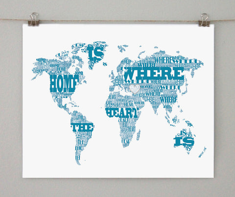 Typographic World Map, Home is Where the Heart Is, on white