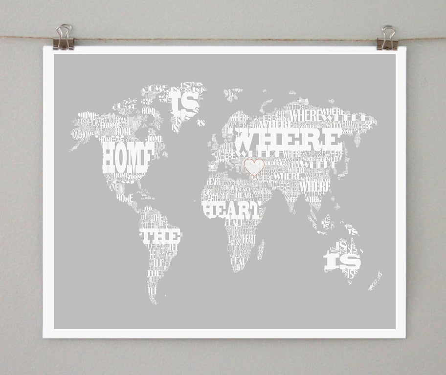 Typographic World Map, Home is Where the Heart Is - Salty Lyon - 1