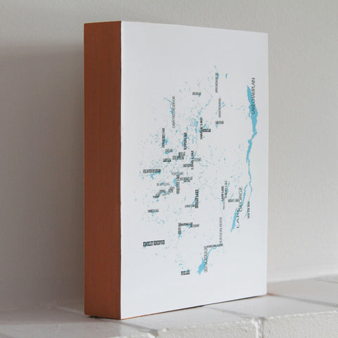Adirondacks Lakes Map, Woodblock-Mounted Map Print