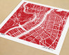 Lyon France Hand-Drawn Map Print - Salty Lyon - 1