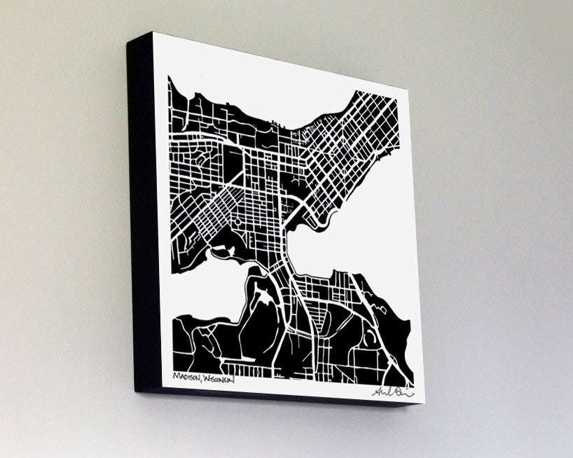 Madison Wisconsin Woodblock-Mounted Map Print - Salty Lyon - 1
