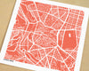 Madrid Spain Hand-Drawn Map Print - Salty Lyon - 1