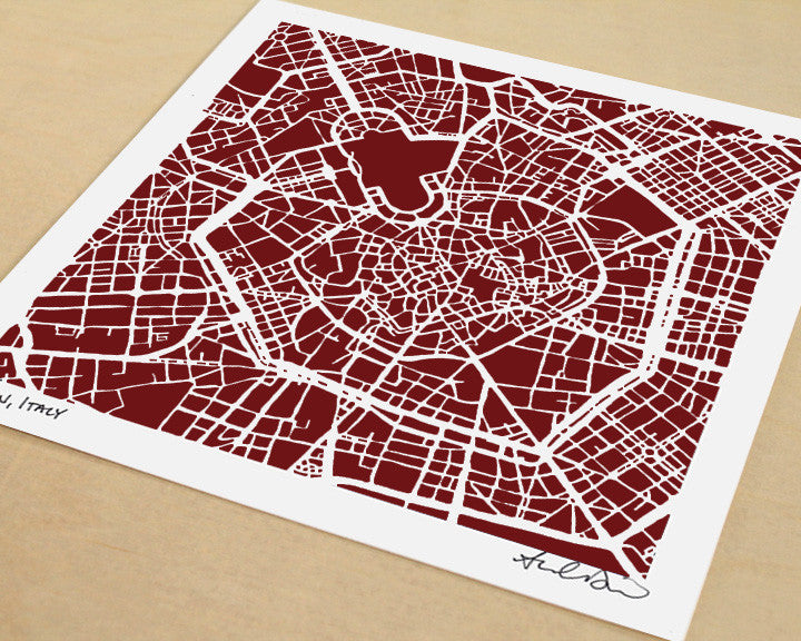 Milan Italy Hand-Drawn Map Print - Salty Lyon - 1