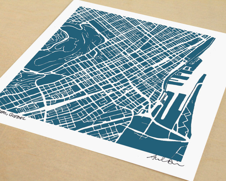 Montreal Quebec Hand-Drawn Map Print - Salty Lyon - 1