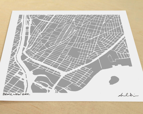 Bronx New York Slope Hand-Drawn Map Print