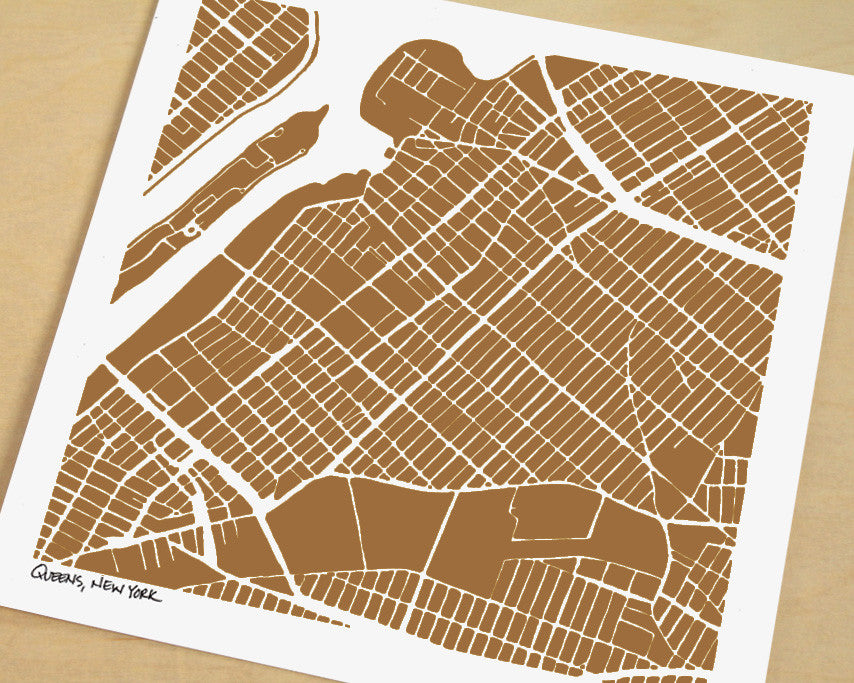 Queens New York Hand-Drawn Map Print