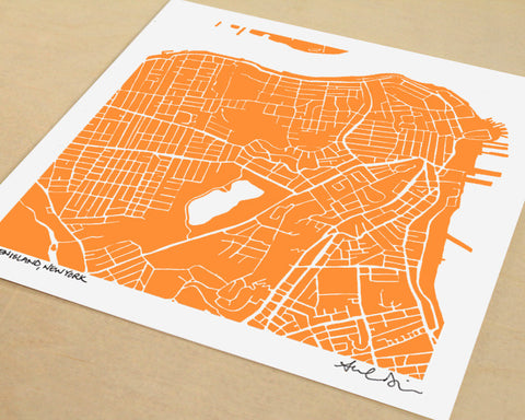 Staten Island Hand-Drawn Map Print