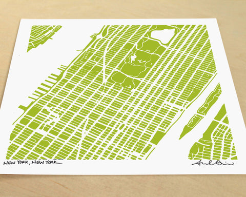 Midtown & Upper Manhattan Hand-Drawn Map Print