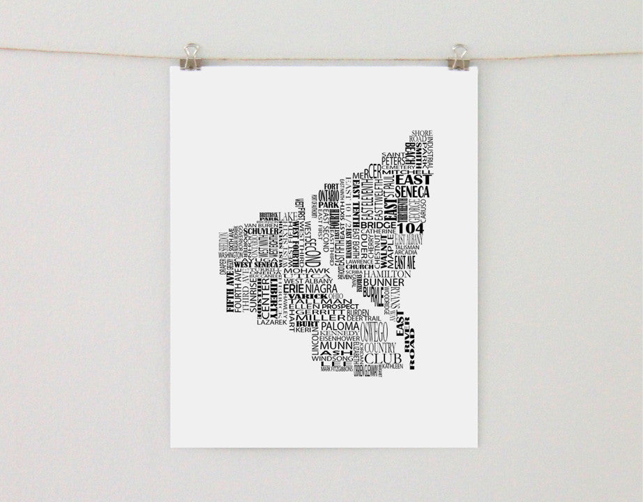 Oswego New York Typographic Map - Salty Lyon - 1
