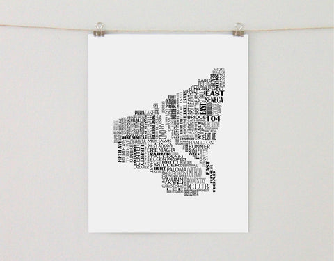 Oswego New York Typographic Map