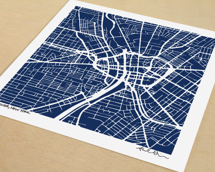 Rochester New York Hand-Drawn Map Print - Salty Lyon - 1