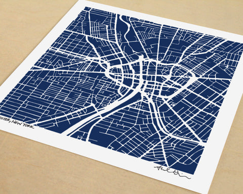 Rochester New York Hand-Drawn Map Print