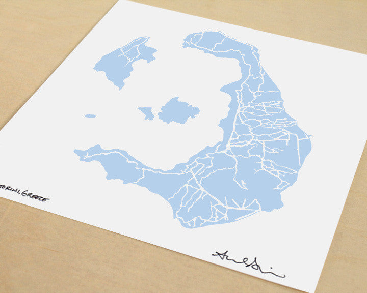 Santorini Greece Hand-Drawn Map Print