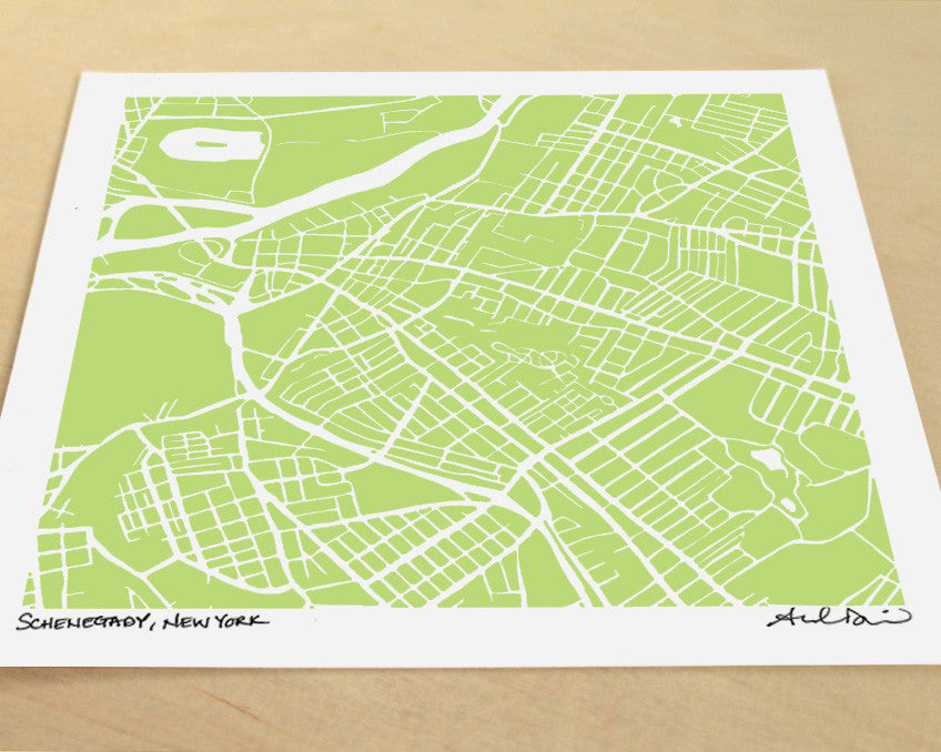 Schenectady New York Hand-Drawn Map Print - Salty Lyon - 1