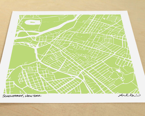 Schenectady New York Hand-Drawn Map Print