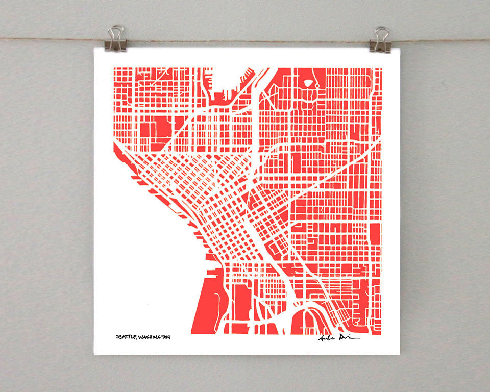 Seattle Washington Hand-Drawn Map Print - Salty Lyon - 1