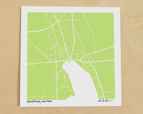 Skaneateles New York Hand-Drawn Map Print