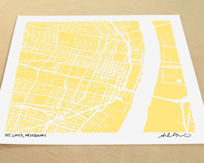 St Louis Missouri Hand-Drawn Map Print - Salty Lyon - 1