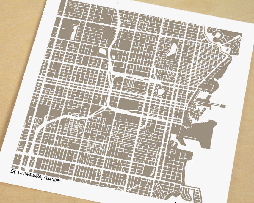 St Petersburg Florida Hand-Drawn Map Print - Salty Lyon - 1