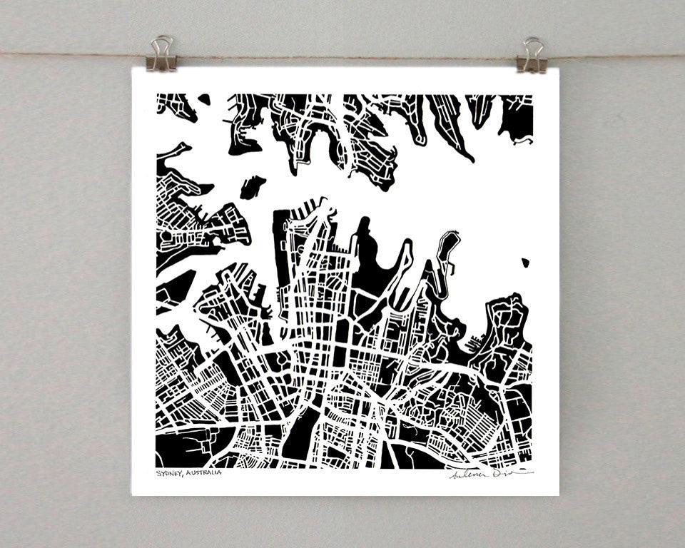 Sydney Australia Hand-Drawn Map Print - Salty Lyon - 1