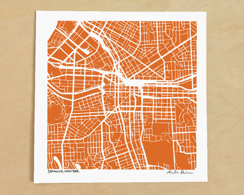 Syracuse New York Hand-Drawn Map Print