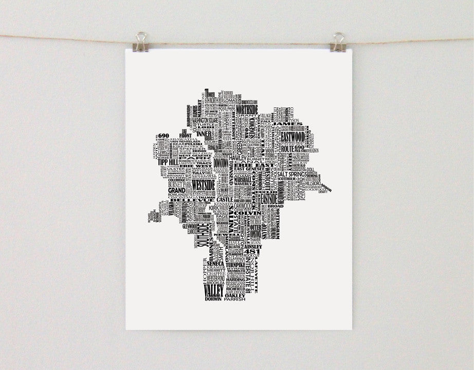 Syracuse New York Typographic Map - Salty Lyon - 1
